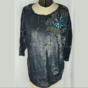 French Connection FCUK Sequin Top Flower Batwing